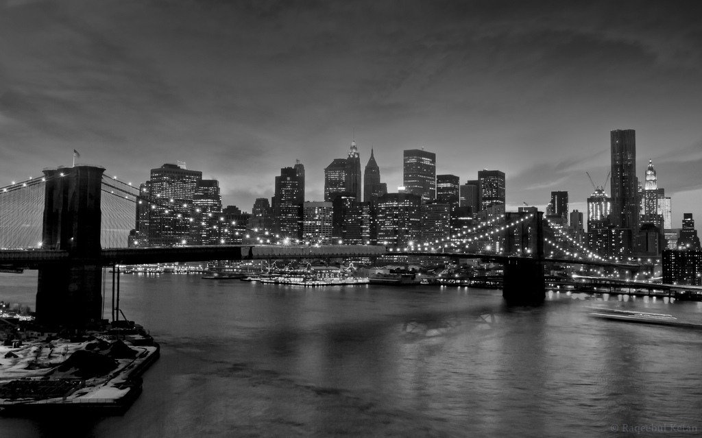 Night, Long Exposure, B&W, New York
