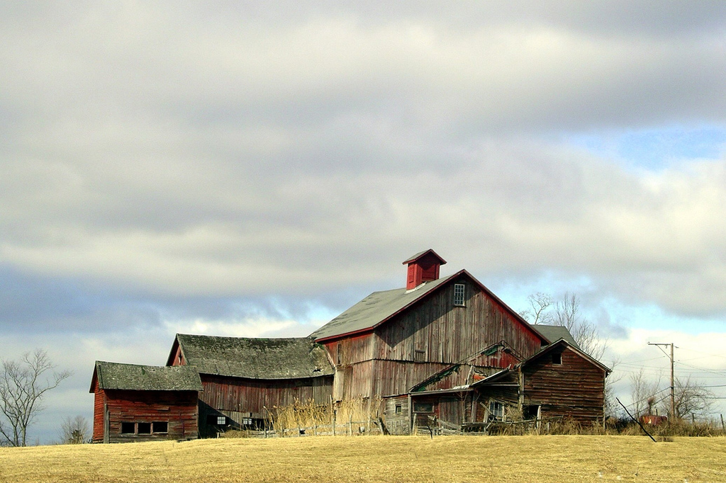 old, barn, red, rural