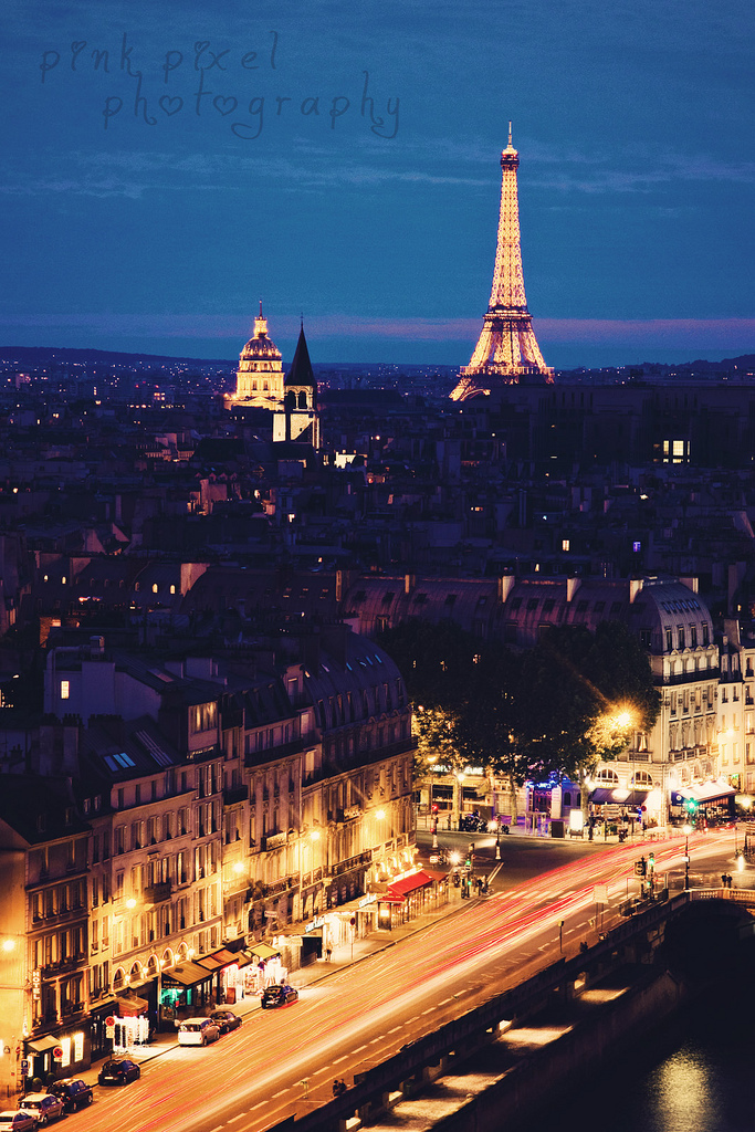 blue hour, eiffel tower, i love this city, long exposure, paris, view from notre dame