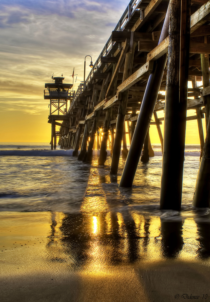 pier, light, sunset, goldenhour
