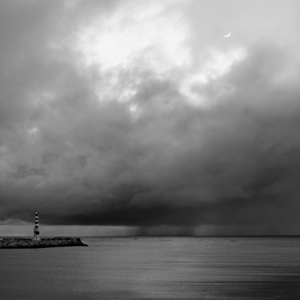 rain, dramatic, lighthouse, ocean