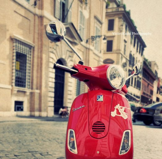 red, Vespa, scooter, Italy
