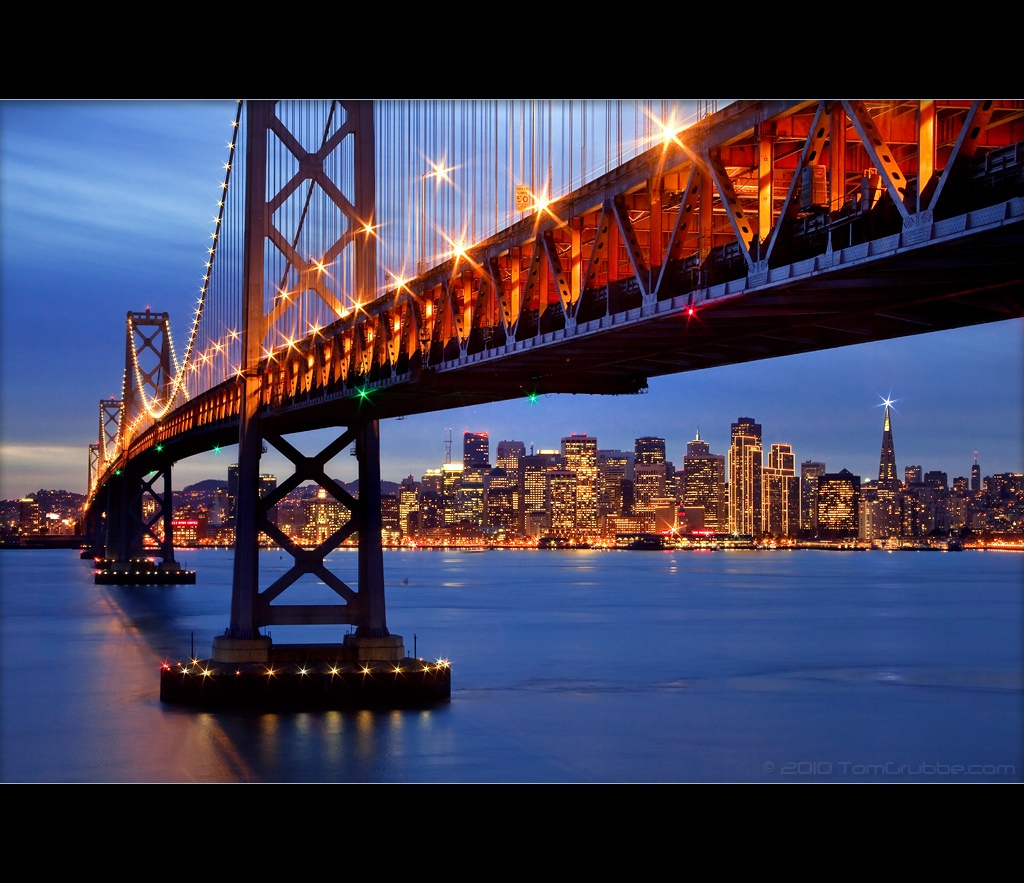 san francisco, bay bridge, city, bridge