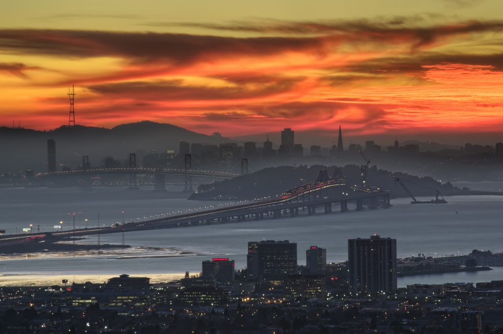 San Francisco, Bay Bridge, orange, sky