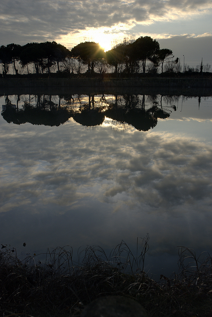 sky, water, clouds, sun