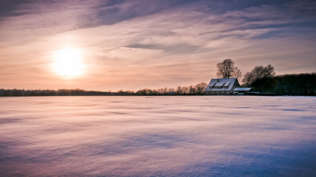 Snow, House, Farmhouse, Fields