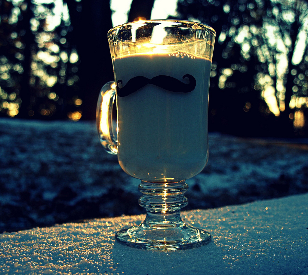Snow, Sunset, Glass, Milk