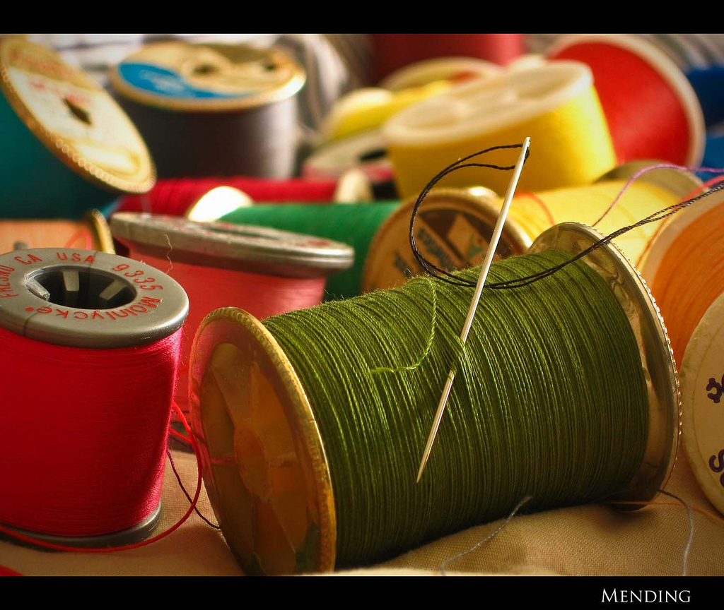 spools, thread, needle, sewing