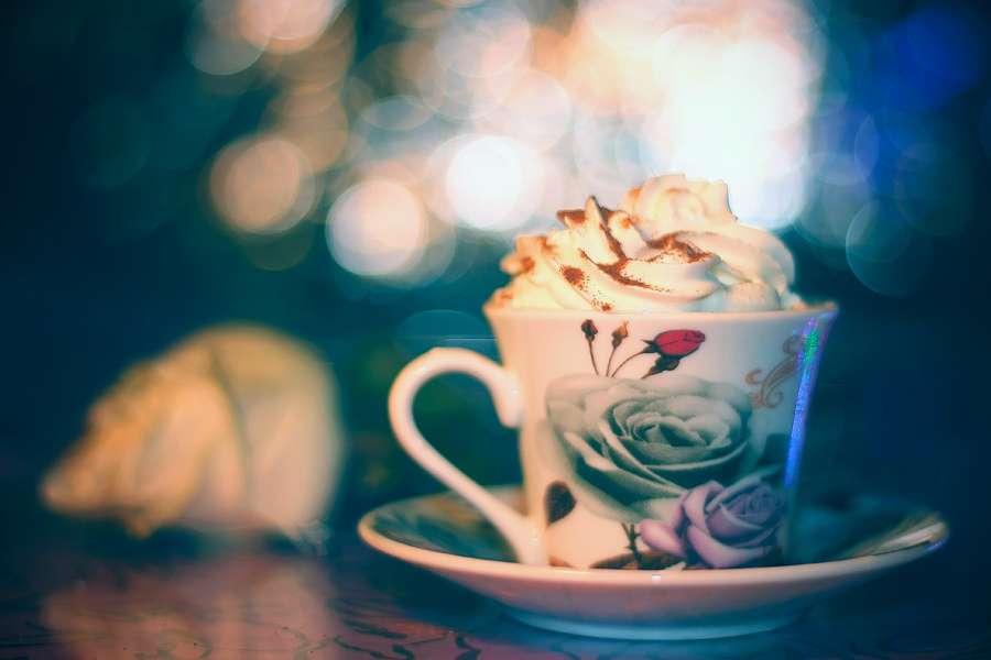 sweet, cup, bokeh, cream