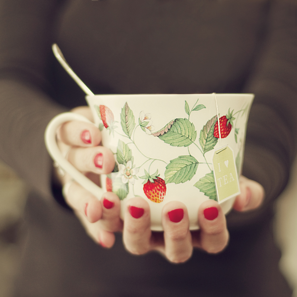 tea, cup, hands, red