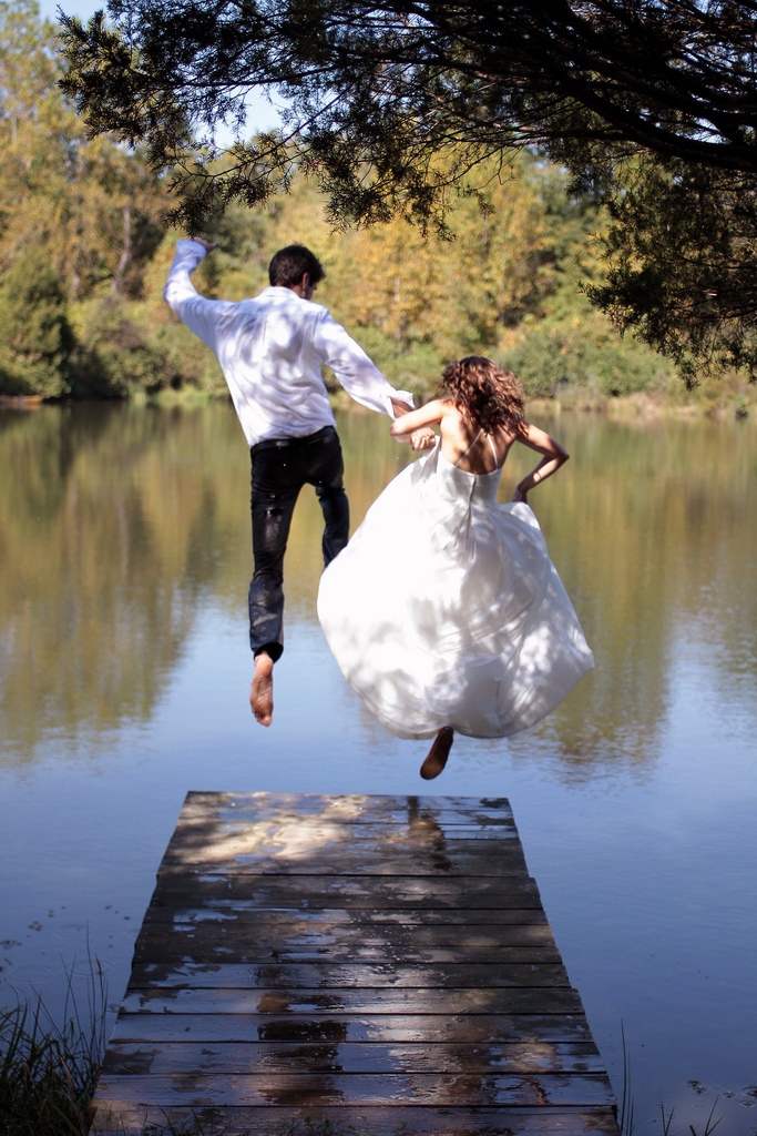 Trash the dress, Bride, Groom, Jumping