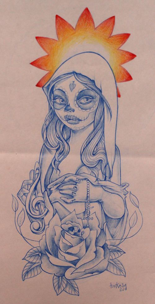 calaca, mexican, music, rose, skull, turkesa rabodiga tattoo design sketch drawing illustration, virgen