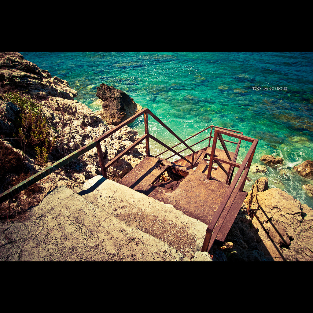 turkey, beach, dangerous, stairs