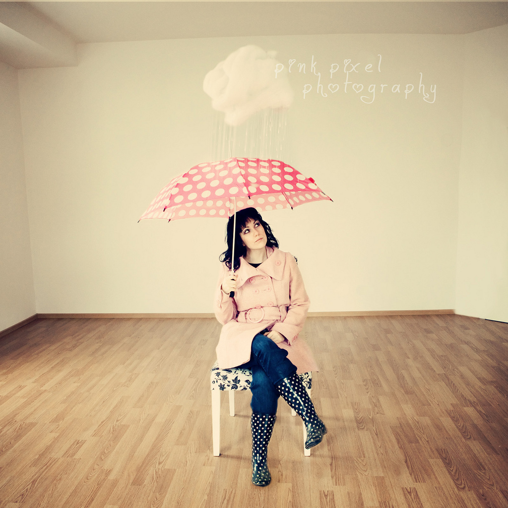 under the rain, rain, umbrella, polka dots