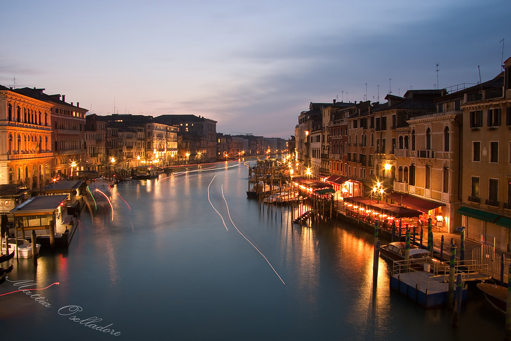 boats, buildings, canal grande, italy, lights, long exposure, night, reflections, venice, water