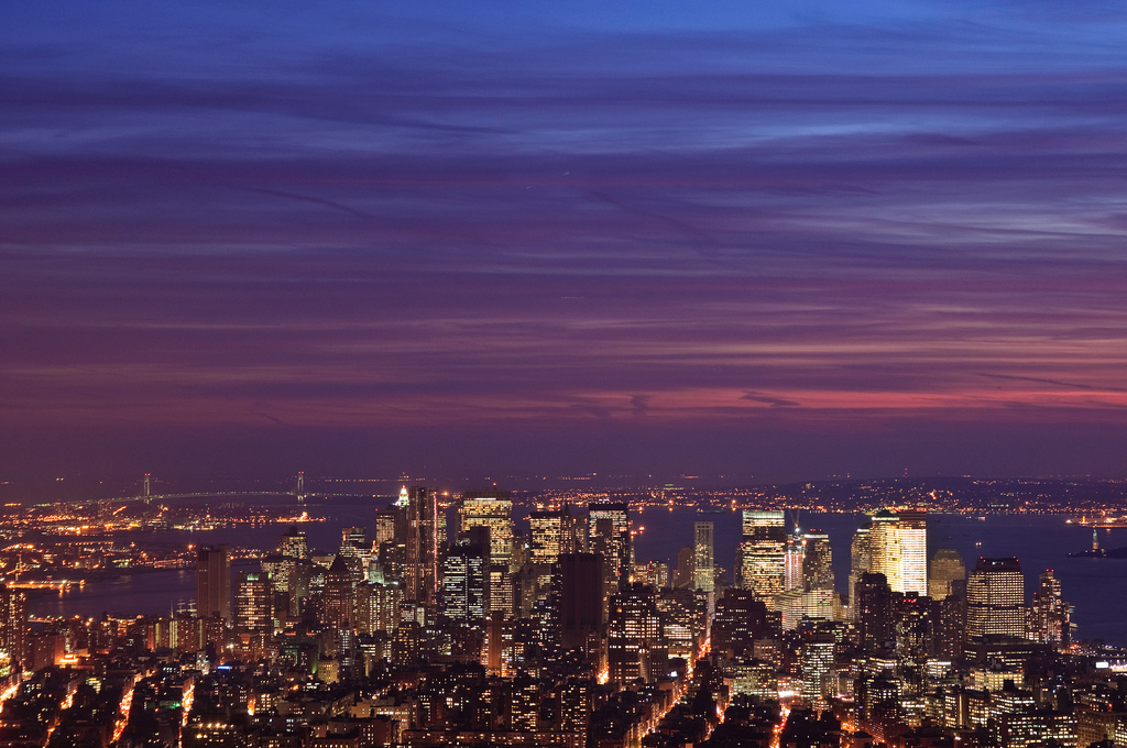 view, city, sky, new york