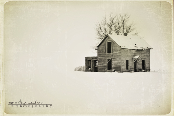 vintage, house, snow, abandon