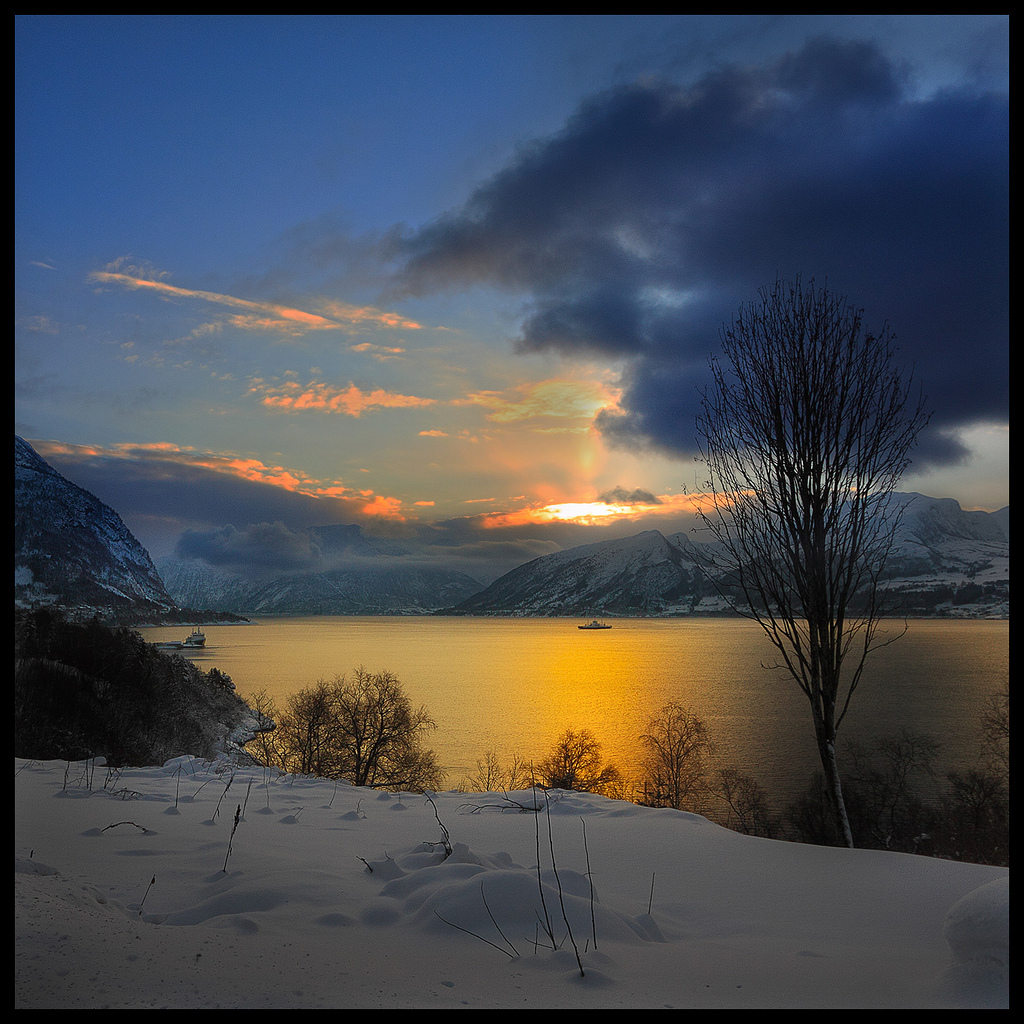 Winter, Volda, Norway, sun