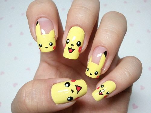 *-*, anime, animes, art nails, awn, cute, japan, japanese, pikachu