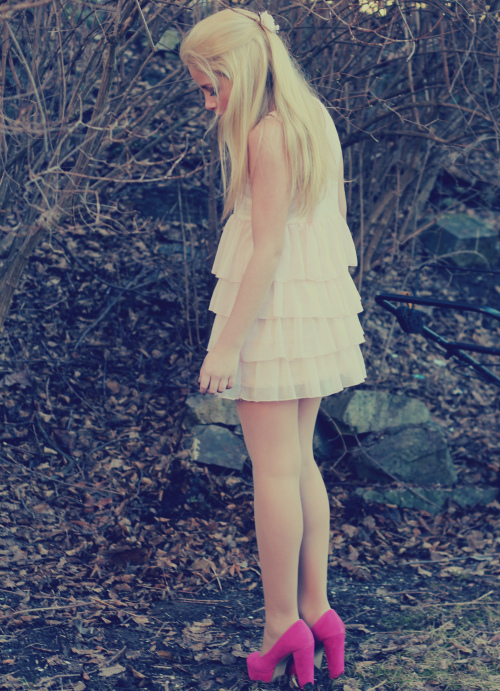 2012, blond, dress, fashion, forest, girl, mars, me, out, pink, sticks, stones