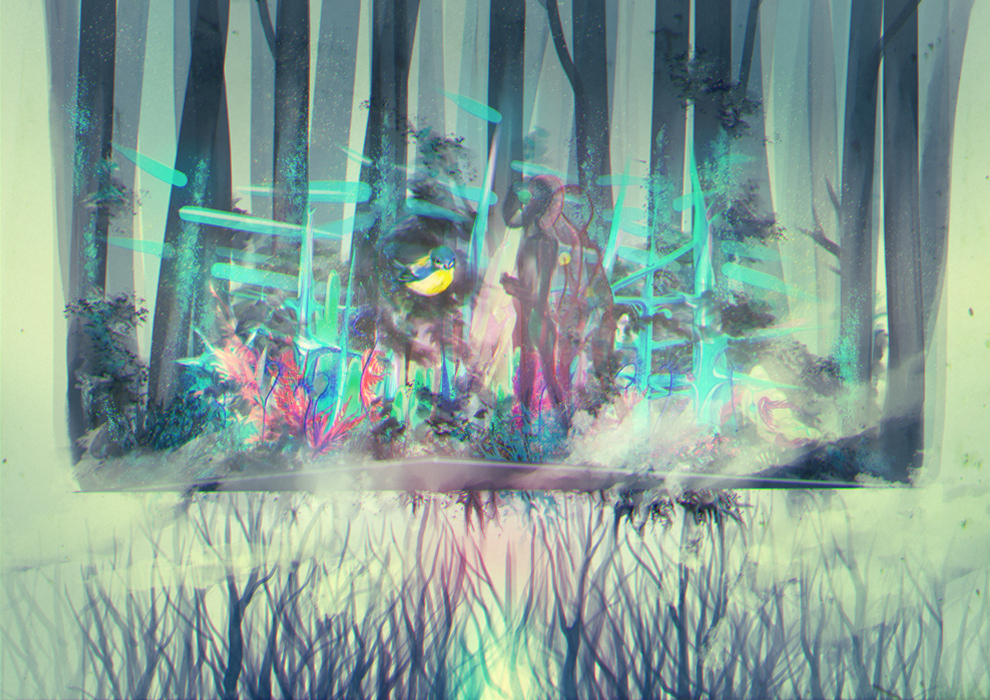 abstract, art, bird, blue, branches, concept, conceptual, cute, drawing, expressive, flowers, fog, forest, inspirational, pretty, smoke, teal, tree, turquoise