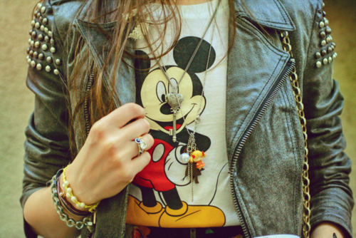 accessoires, cool, dress, fashion, girl, jacket, life, mickey mouse, people, rock