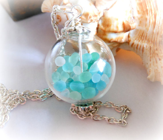 accessories, beach, cute, glass, handmade, hippie, jewellery, jewelry, lake, necklace, ocean, sea, seaglass, summer
