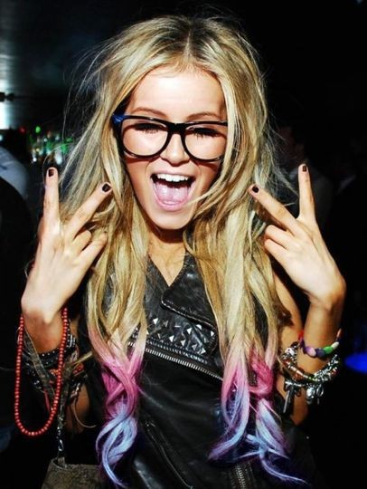 accessories, blonde, bracelets, fashion, girl, glasses, highlightss, peace, pink, purple, style