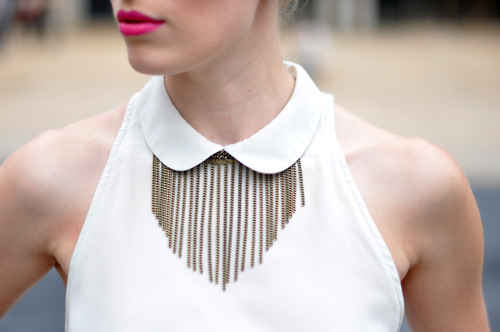 accessories, chain, chain necklace, collar, dress, fashion, necklace, peter pan collar, street style, tank, ♥