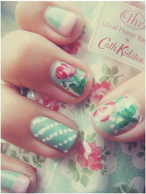add more tags, art, artistic, creative, cute, flowers, nail polish, painting, pastel, pretty, rose, vintage