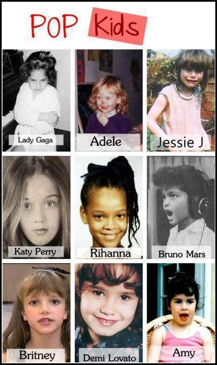 adele, amy winehouse, britney spears, bruno mars, childhood, cute, demi lovato, jessie j, katy perry, lady gaga, pop kids, rihanna