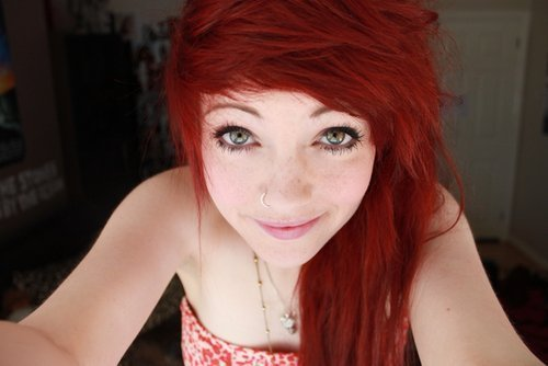 adorable, alternative, amazing, cute, eyes, girl, gorgeous, hair, hair style, lovely, nose ring, nostril, piercing, red hair, smile, style