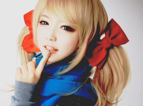 adorable, asia, asian, beautiful, blond hair, bow, circle lenses, curls, cute, eye liner, girl, hair, jeong seo yeong, kfashion, korea, korean, make up, seoul, style, sweater, uljjang, ulzzang