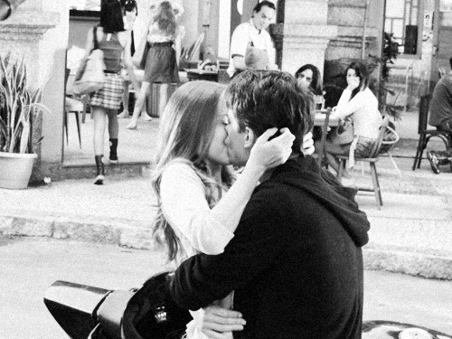 adorable, black and white, boy, couple, cute, girl, hug, kiss, kissing, love, lovely, motorcycle, street