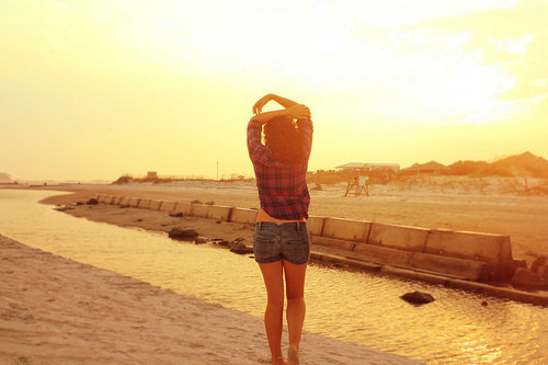alone, beach, clothes, cute, fashion, girl, river, sad, sky, sun