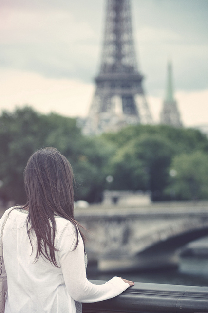 alone, beautiful, city, cool, cute, eiffel tower, flickr, girl, hair, paris, photo, photography, pretty