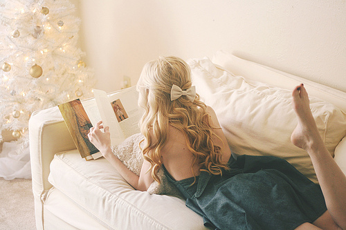 alone, blonde, bow, dress