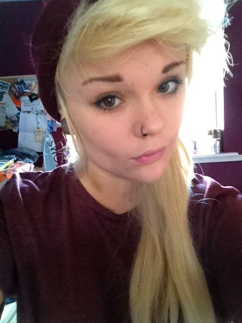 alternative, blonde, eyes, girl, hair, piercing, plug, stretched ear