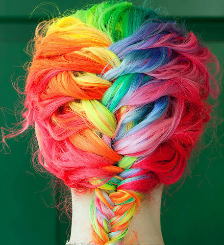 amazing, awesome, beautiful, braid, colors, cool, hair, pretty, rainbow, red, wow
