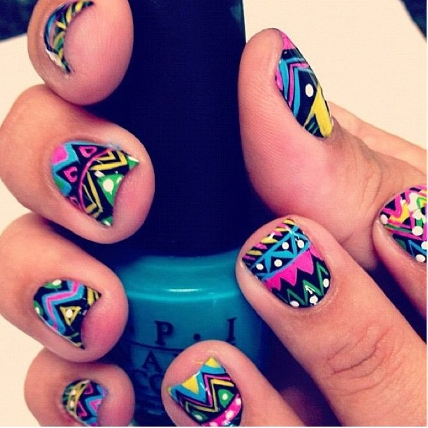 amazing, aztec pattern, color, nails