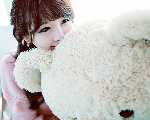 amazing, bear, beautiful, black, cute, eyes, girl, hair, kawaii, lovely, pink, tedy bear, ulzzang, white