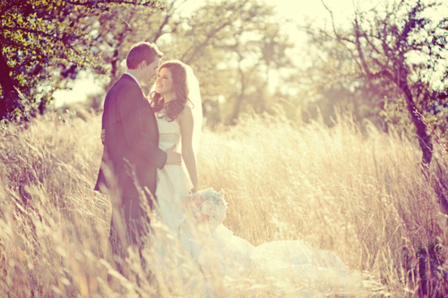 amazing, beautiful, bride, couple, cute, field, gorgeous, groom, love, nature, photography, pretty, wedding, wedding dress, wedding gown, First Set on Favim.com