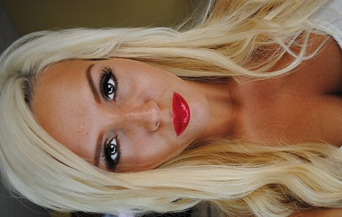 amazing lips, beautiful, blonde, blue eyes, eyelashes, eyes, girl, long hair, makeup, perfect, pretty, red lips, woman