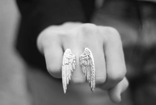 angel, black and white, cute, girl, girly, in love, jewelry, love, pretty, ring, rings, stuff, wing, wings