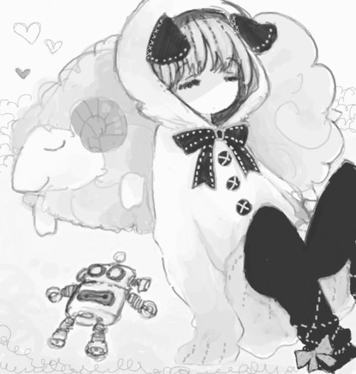 anime, black and white, cute, manga, ribbon, robot, sheep