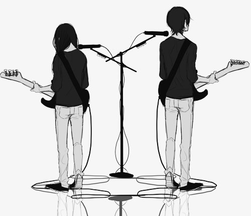anime, black and white, music, rock