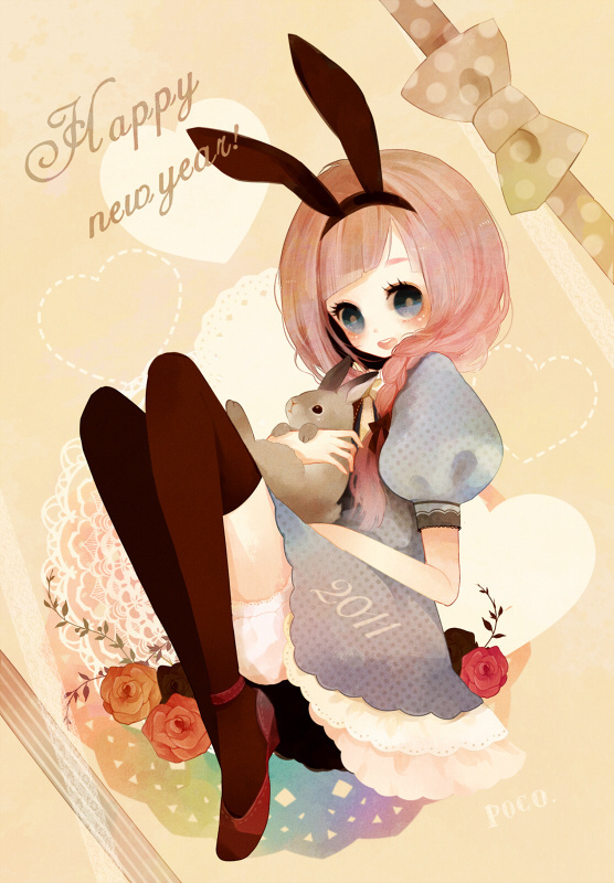 anime, bunny, cute, girl, illustration, kawaii, new years, pink, rabbit