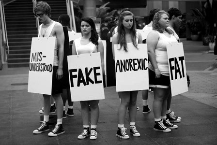 anorexic, black and white, fake, fat