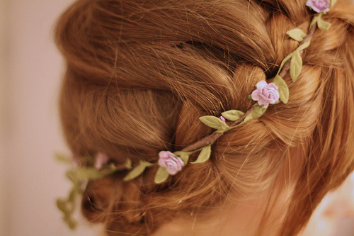 antique, ballerina, bed, bridal, brunette, classy, cute, delicate, flowers, girl, girly, hair, hair style, hairstyle, pastel, pink, vintage