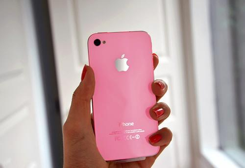 apple, beautiful, cellular, cute, girl, iphone, nails, pink, red, sweet
